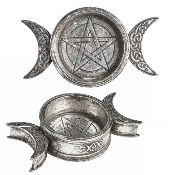 ALCHEMY GOTHIC  Triple Moon Trinket Dish / Candle Holder